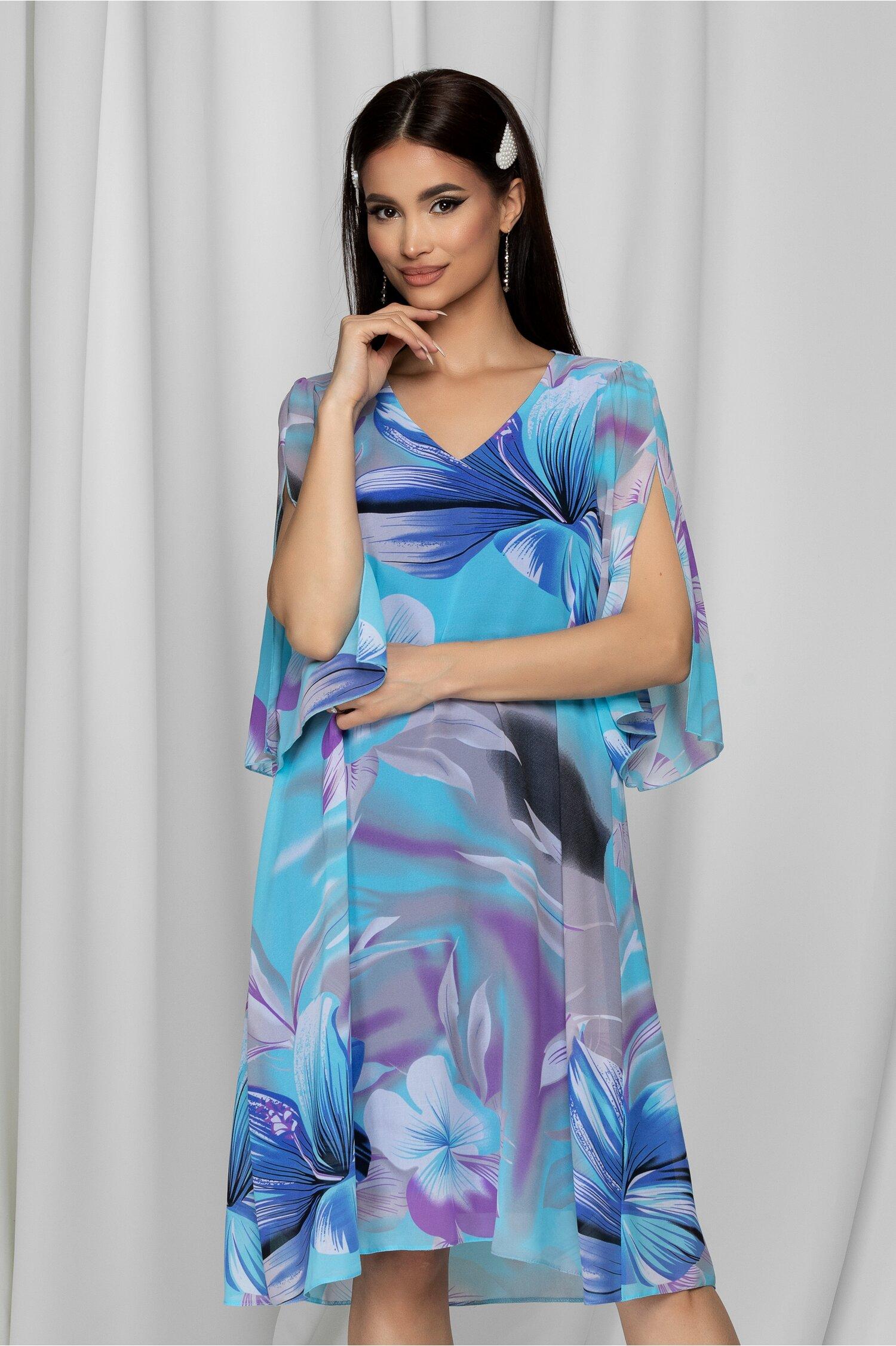 Rochie Cory lejera bleu cu imprimeuri florale