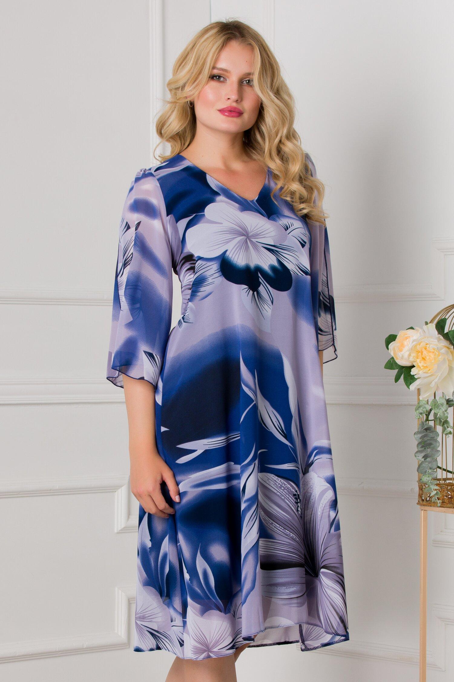 Rochie Cory lejera bleumarin cu imprimeuri florale