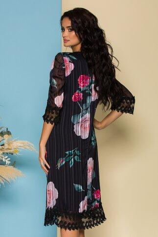 Rochie Cory neagra din voal cu imprimeu floral si design in dungi