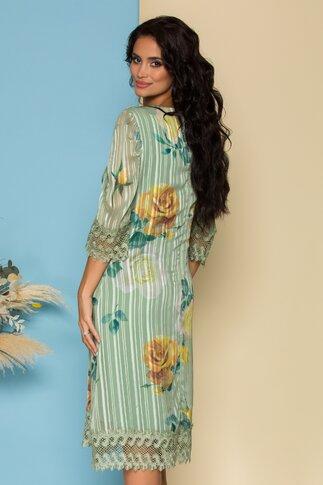 Rochie Cory verde din voal cu imprimeu floral si design in dungi