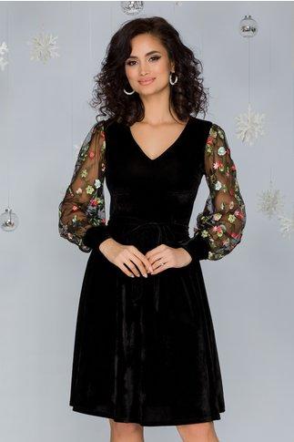 Rochie Cosmina neagra din catifea cu broderie florala verde la maneci