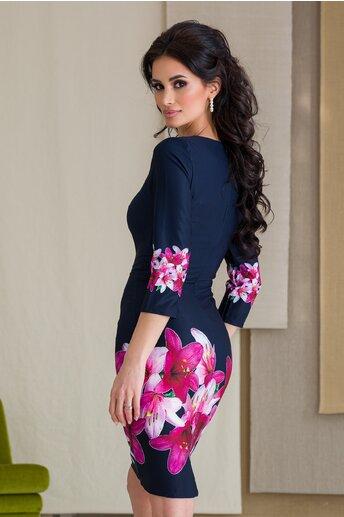 Rochie Cosmy bleumarin cu imprimeu floral fucsia