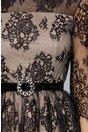 Rochie Crina din dantela neagra cu insertii din lurex argintiu si captuseala bej