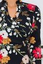 Rochie Crina neagra cu imprimeu floral si nasturi decorativi in zona pieptului