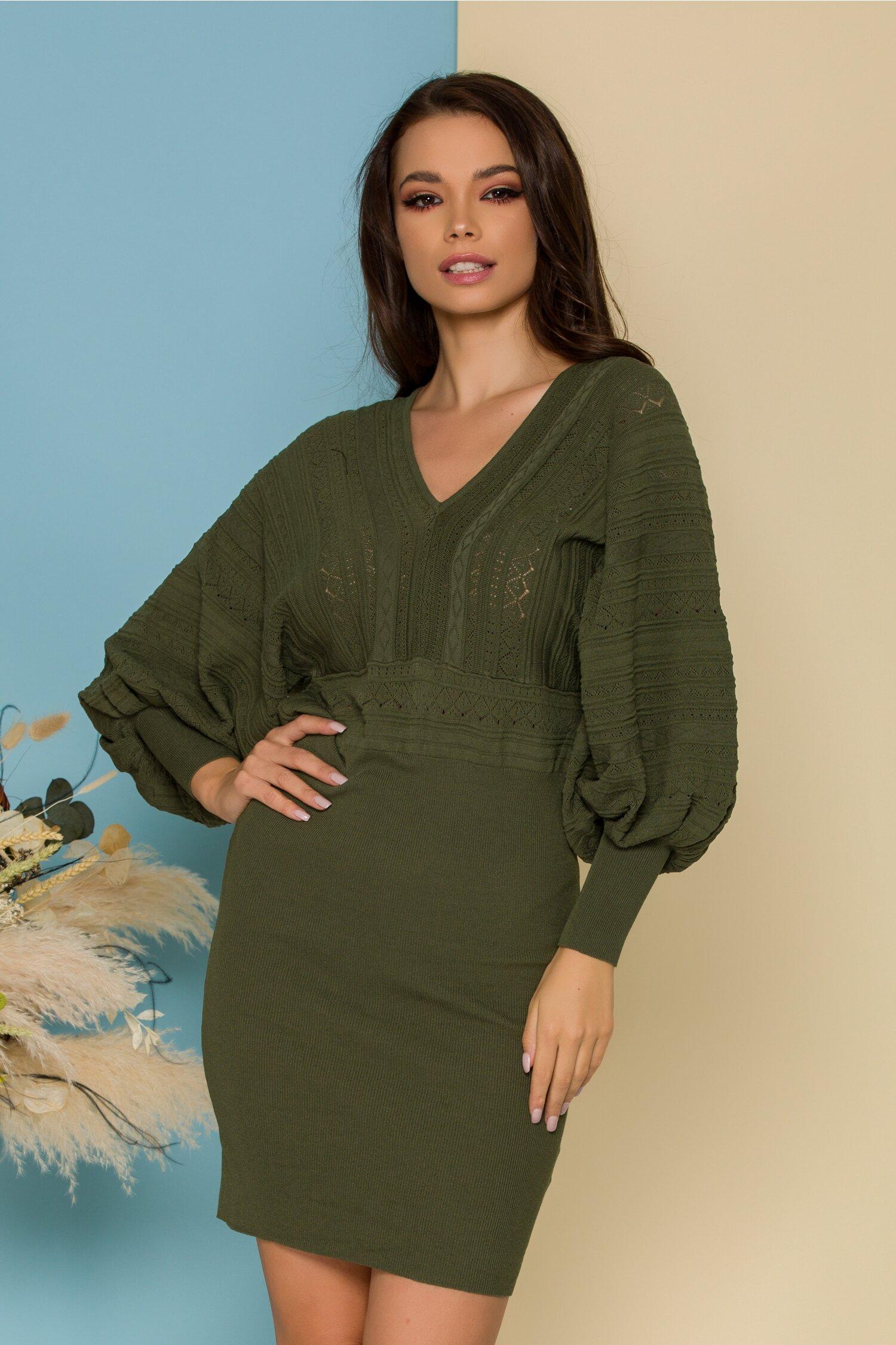 Rochie Crina verde olive din tricot
