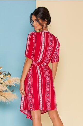 Rochie Crisa petrecuta rosie cu imprimeuri verticale si cordon in talie