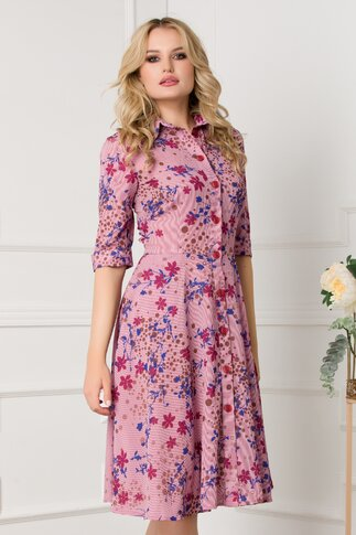 Rochie cu dungi bordo si imprimeu floral