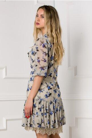 Rochie cu imprimeu floral albastru si dantela la umeri