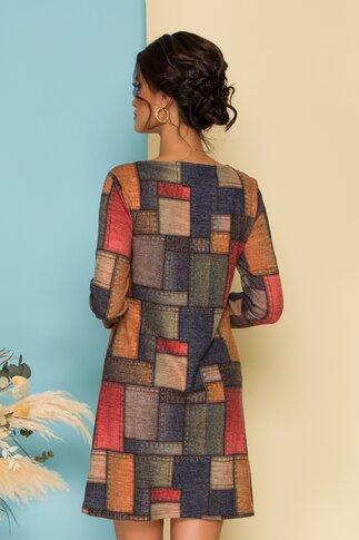 Rochie cu imprimeu tip petice in nuante tomnatice cu bordo