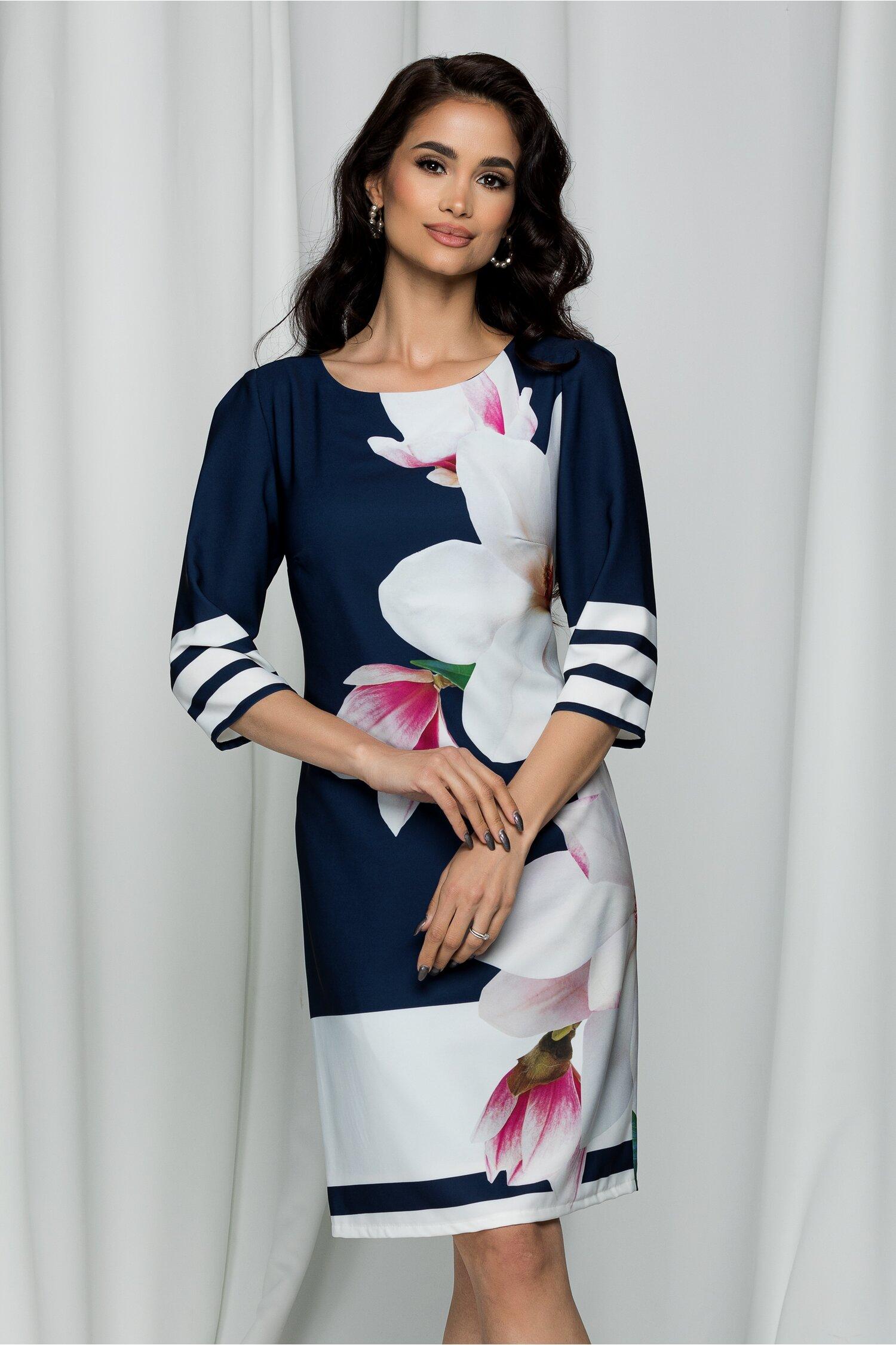 Rochie Dafina bleumarin cu imprimeu floral maxi si maneci trei sferturi