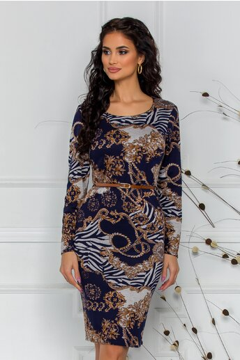 Rochie Daia bleumarin cu imprimeuri maro