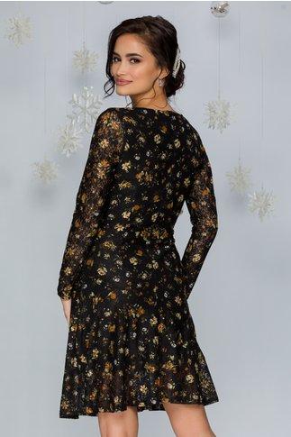 Rochie Daiana neagra din dantela cu imprimeuri florale bej