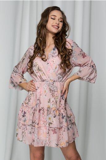 Rochie Daiana roz cu imprimeu floral si volane
