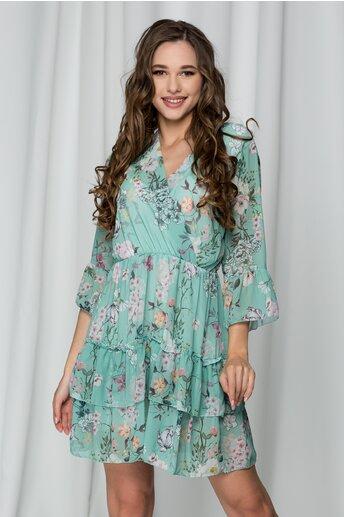 Rochie Daiana verde cu imprimeu floral si volane