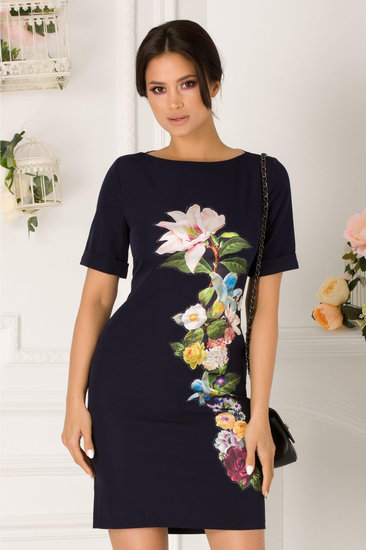 Rochie Daisy bleumarin cu aplicatie florala