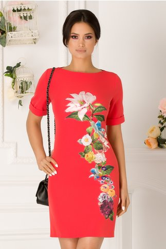 Rochie Daisy corai cu aplicatie florala
