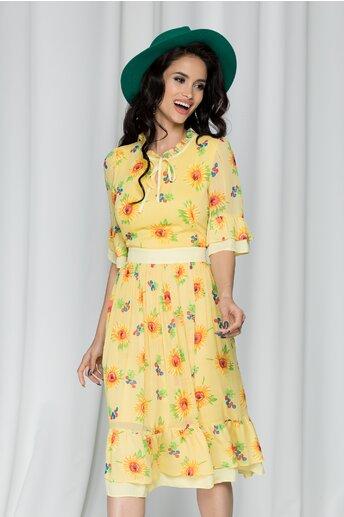 Rochie Daisy galbena cu imprimeu floarea soarelui