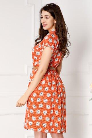 Rochie Daisy orange cu flori si buline