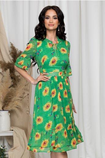 Rochie Daisy verde cu imprimeuri florale galbene