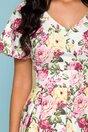 Rochie Dalia alba cu imprimeu floral in nuante de roz