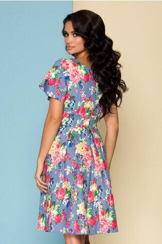 Rochie Dalia bleu cu imprimeu floral colorat