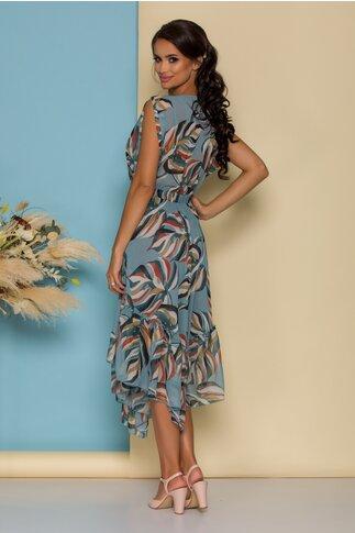 Rochie Dalia bleu cu imprimeuri