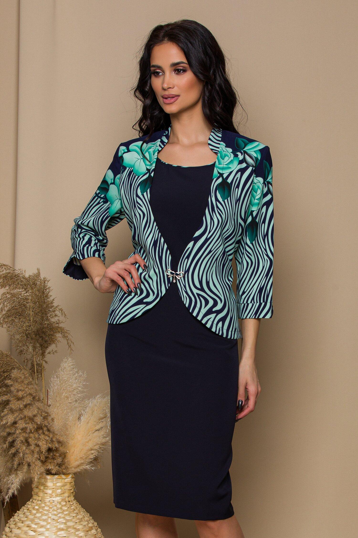 rochie dalia bleumarin cu imprimeu exotic verde 646728 4
