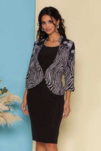 Rochie Dalia neagra cu imprimeu exotic gri