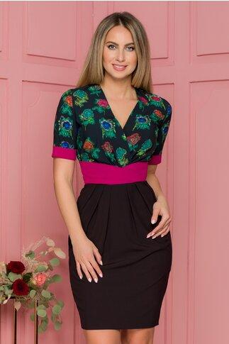 Rochie Dalia neagra cu imprimeuri florale si brau in talie