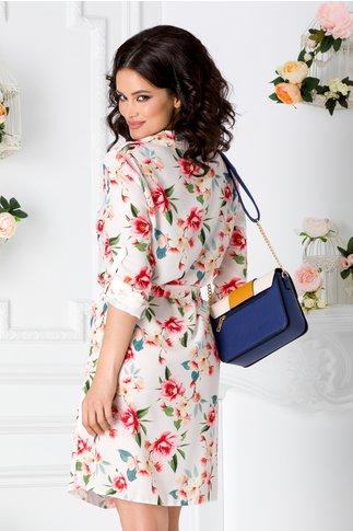Rochie Dalia tip camasa alba cu imprimeu floral