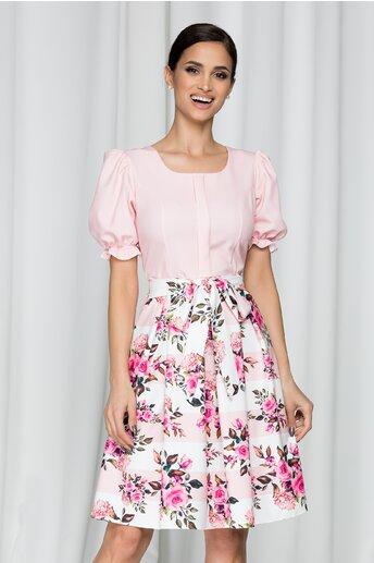 Rochie Dalida roz cu maneci scurte si imprimeu floral