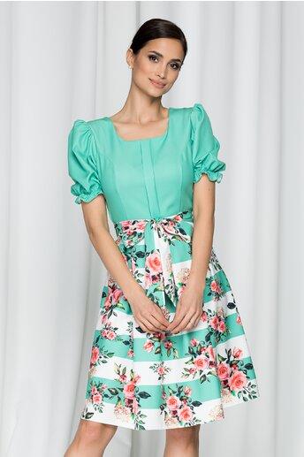 Rochie Dalida verde cu maneci scurte si imprimeu floral