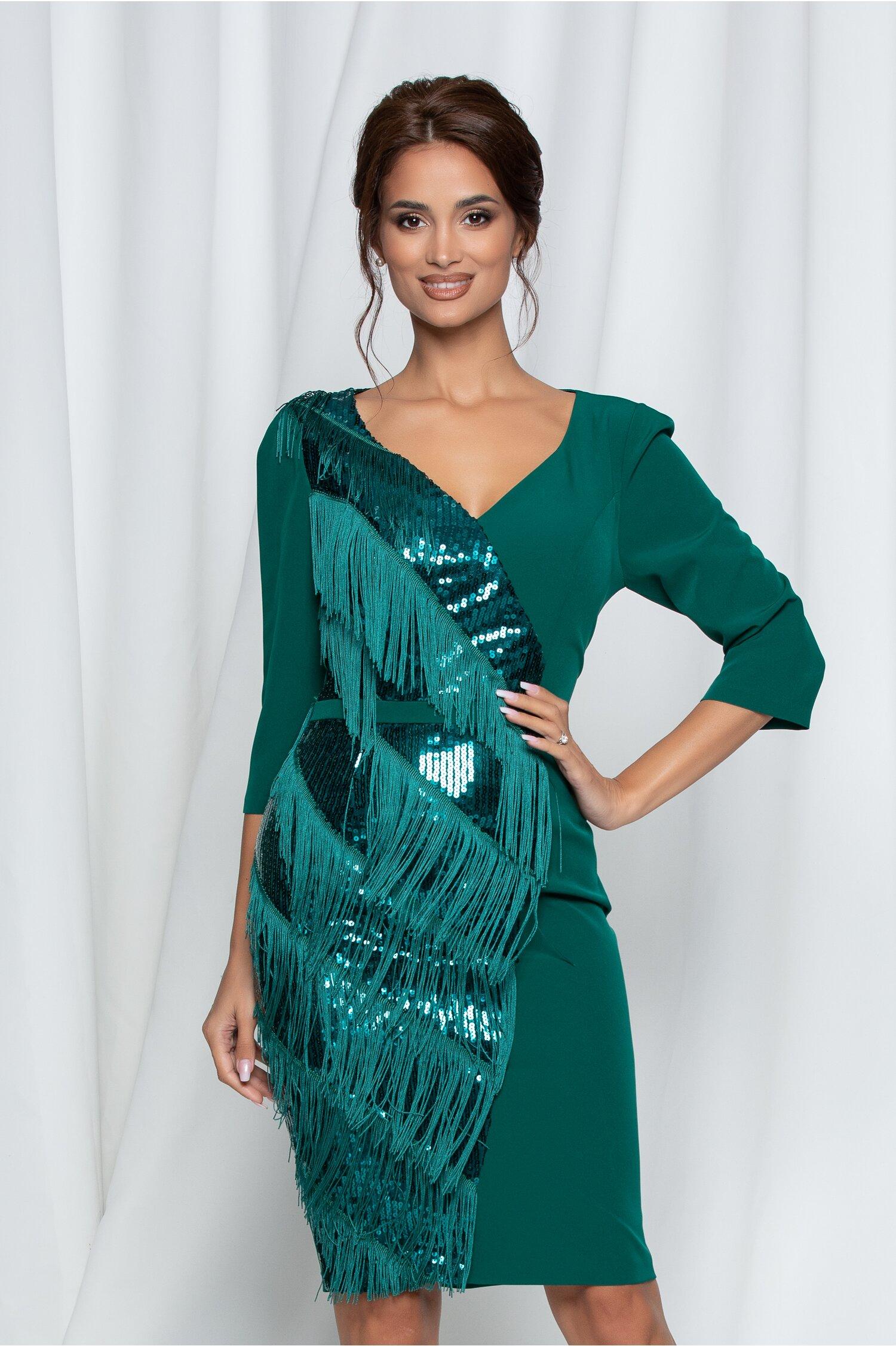 Rochie Dalina verde cu paiete si franjuri