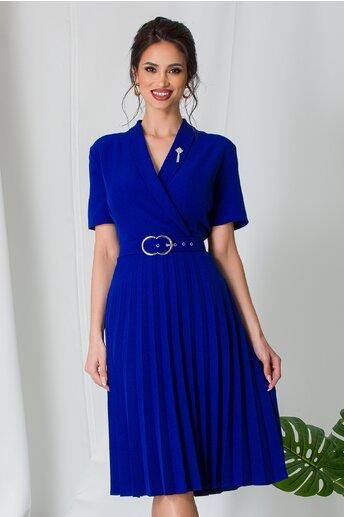 Rochie Damaris albastra plisata cu manecile scurte