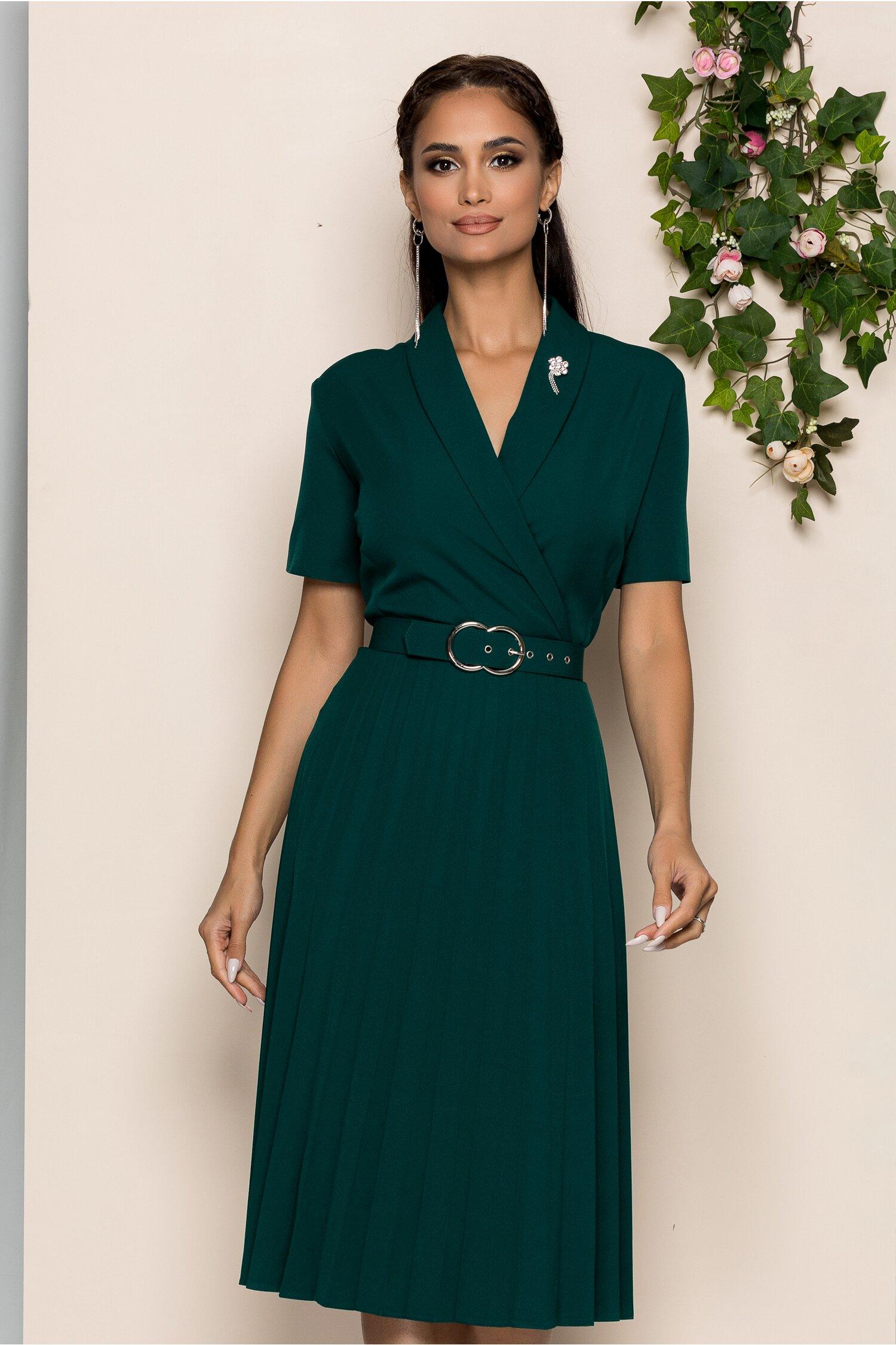 Rochie Damaris verde cu decolteu in v petrecut si pliuri pe fusta