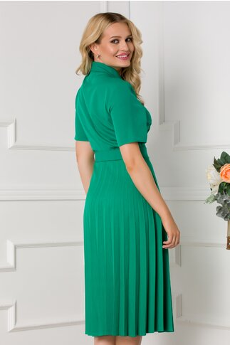 Rochie Damaris verde cu fusta plisata si manecile scurte