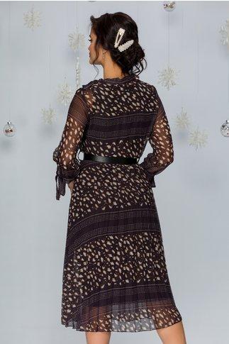 Rochie Damia neagra cu imprimeuri maro