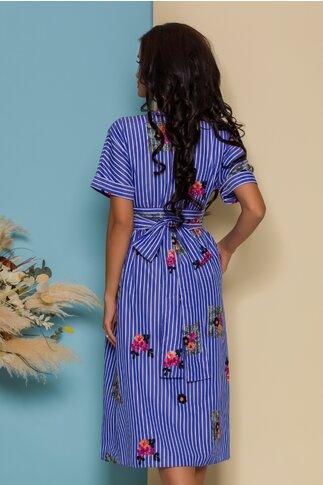 Rochie Damia petrecuta bleu cu dungi si broderie florala