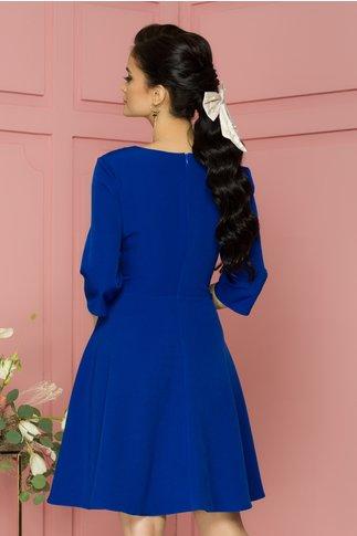 Rochie Damiana albastra clos cu pliuri discrete la decolteu