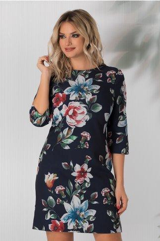 Rochie Damiana bleumarin cu imprimeuri florale colorate