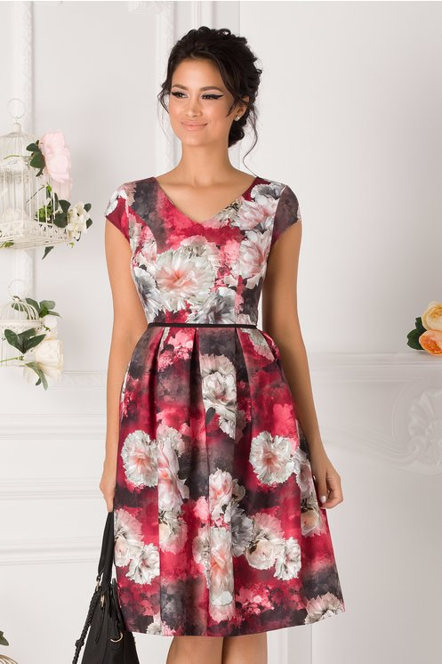 Rochie Damiana bordo cu imprimeu floral pastelat