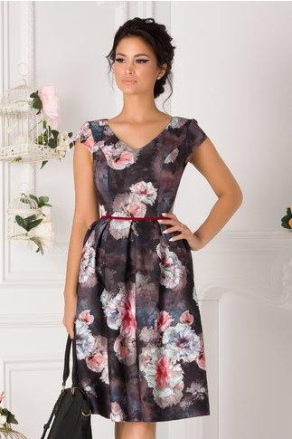 Rochie Damiana gri cu imprimeu floral pastelat