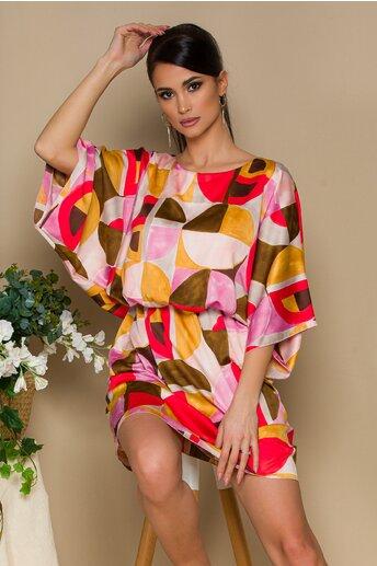 Rochie Dania roz cu imprimeuri multicolore