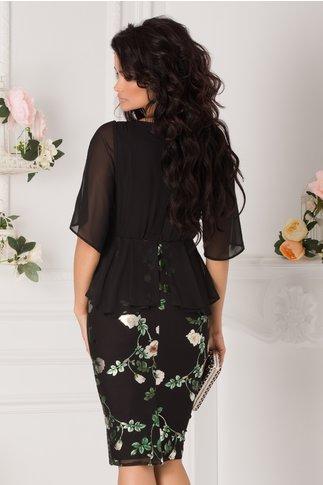 Rochie Daniela neagra cu broderie aurie in talie si imprimeu floral verde
