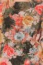 Rochie Daniela neagra cu imprimeu floral si insertii aurii