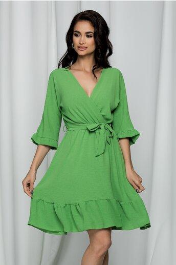 Rochie Danielle verde deschis cu decolteu petrecut in v si cordon in talie