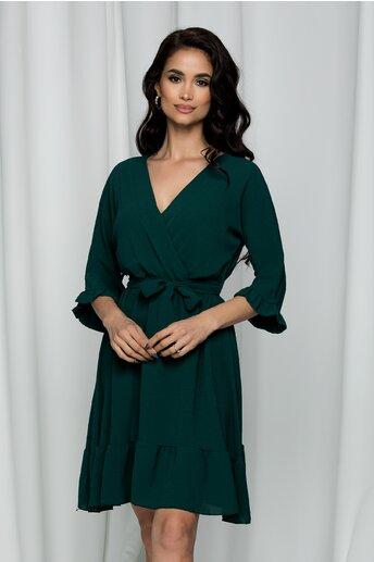 Rochie Danielle verde inchis cu decolteu petrecut in v si cordon in talie