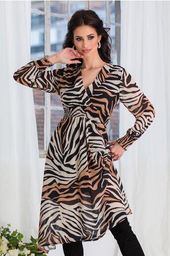 Rochie Dannie din voal cu zebra print