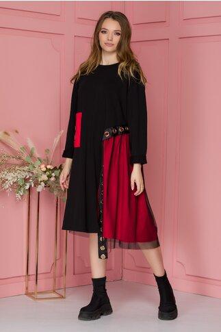 Rochie Danny neagra cu accente rosii si detalii metalice