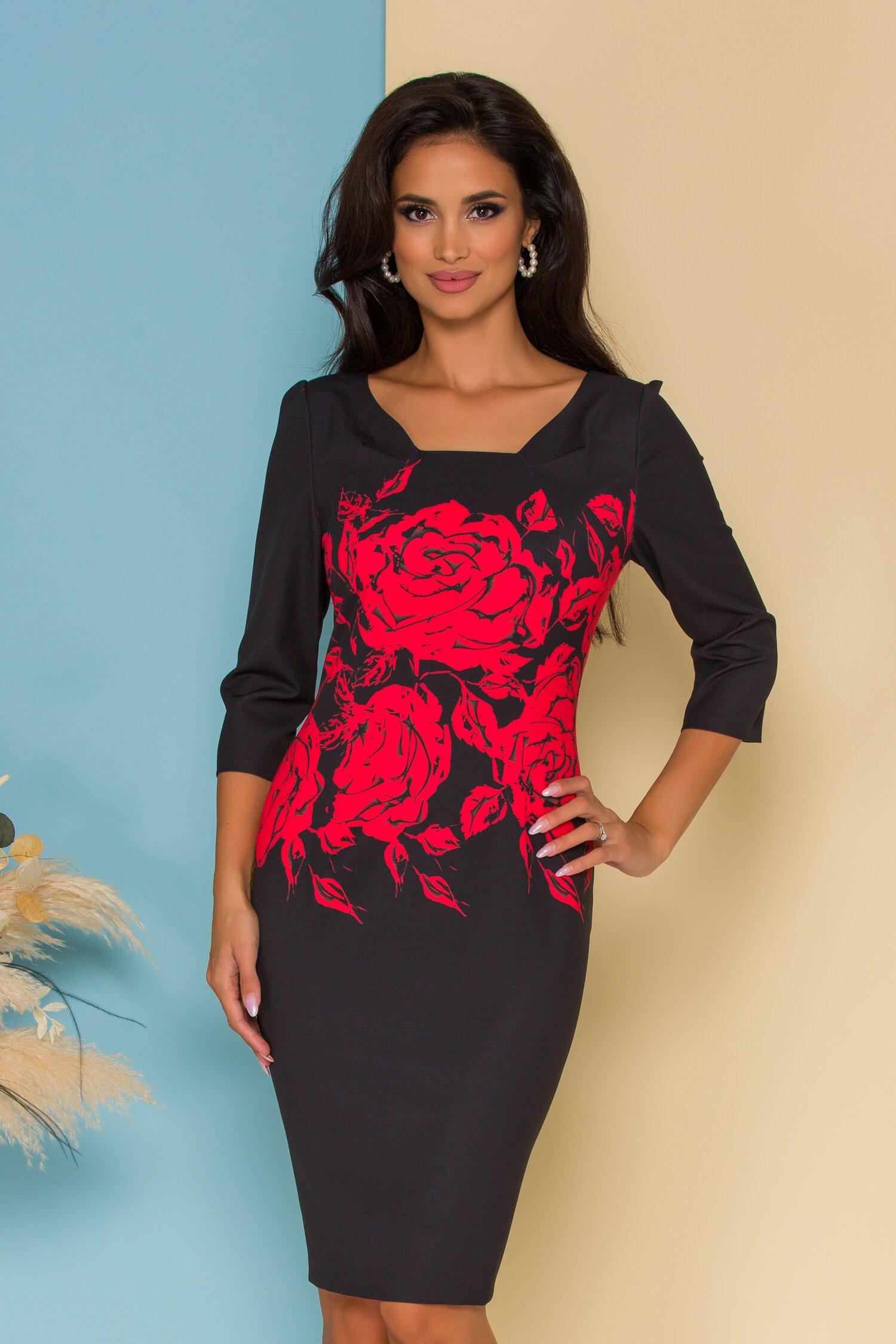 Rochie Danny neagra cu imprimeu floral rosu